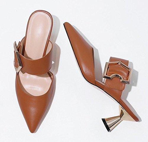 métal sandales strass bout Femmes d'été boucle air plein tongs hauts en Caramel talons chaussures en pantoufles pointu boucle xwqq0PXRn