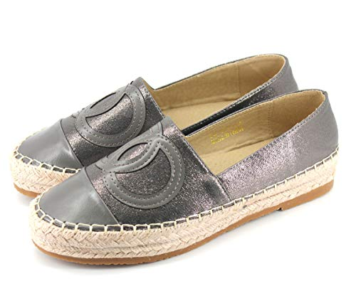 Langou Women's Slip On Loafers Casual Flat Espadrilles Platform Pearl Suede Driving Holiday Shoes Woven Alpargata Grey