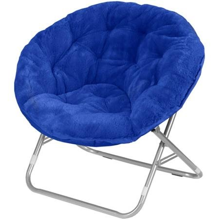 Luxury Plush Padded Faux Fur Moon Chair - Deep Blue by Mainstay