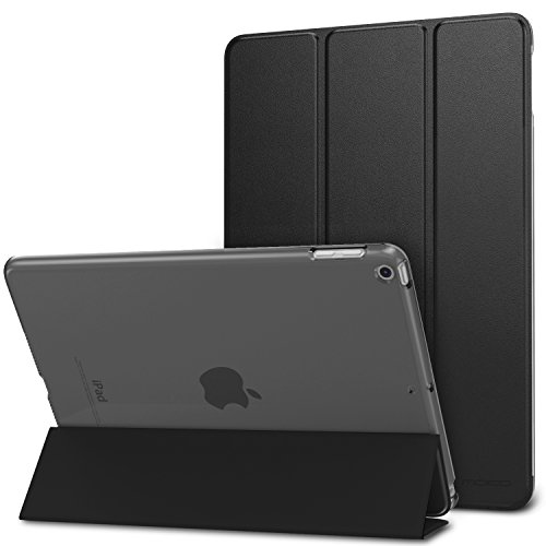 MoKo Case for iPad 9.7 2018/2017 - Slim Lightweight Smart Shell Stand Cover with Translucent Frosted Back Protector for Apple iPad 9.7 Inch (iPad 5, iPad 6), BLACK (Auto Wake/Sleep)