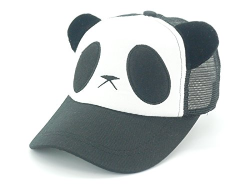 Oidon Summer Panda Cartoon Head Low Profile Flex Fit Baseball Shadow Mesh Cap (Child 49-56cm 19.3-22.0inch, Black)