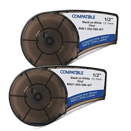 - Samshion (M21-500-595-WT) Compatible Brady bmp21-plus Labels Black on White High Adhesion Vinyl Label Tape Work with BMP21-PLUS, Brady BMP21-LAB -0.75