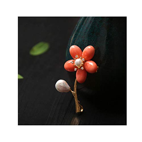 Flower Pink Natural Coral (Natural Freshwater Pearl Pink Coral Flower Brooches For Women Dual Use Luxury Fine Jewelry,1)