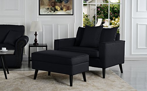 Overstock Mid-Century Living Room Large Accent Chair Storage Footrest Black