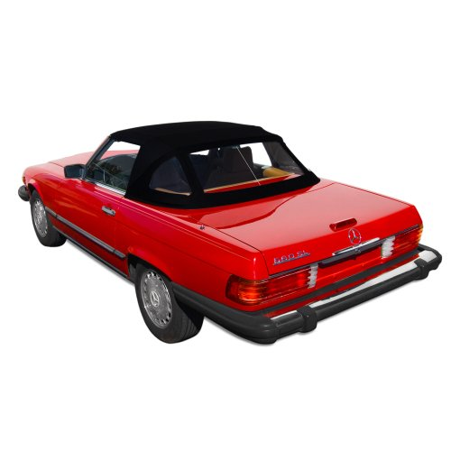 Mercedes Benz SL R107, 1972-1989 Complete Convertible Top with 3 Plastic Windows with Original German Classic Cloth, Black