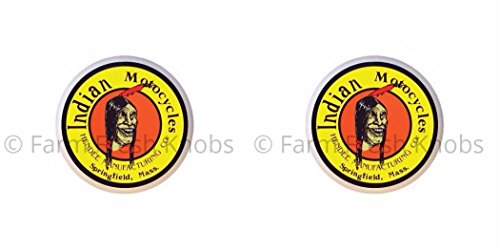 SET OF 2 KNOBS - Indian Motocycles Motorcycles Hendee Manufacturing Company Springfield Mass - Vintage Gas Station Signs - DECORATIVE Glossy CERAMIC Cupboard Cabinet PULLS Dresser Drawer KNOBS