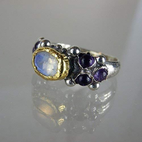 (Handcrafted Vintage Style Rainbow Moonstone Amethyst Gemstone Engagement Ring in 22K Solid Gold & Sterling Silver )