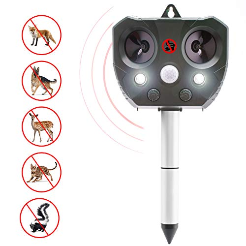 Stay Away Cat Repellent - Solar Powered Pest Repeller | Animal Repellent Outdoor | Cat and Dog Repellent | Pest Deterrent | Waterproof | Ultrasonic | Scares Birds Away |Flashing Lights and Sonic Wave