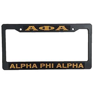 Alpha Phi Alpha Metal or Plastic License Plate Frame For Front Back of Car (Plastic - Standard)