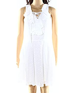 Guess Womens Ruffle Front Sleeveless Sheath Dress White XS