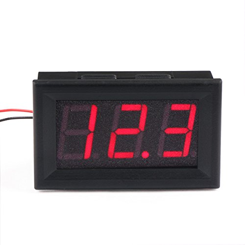 Digital Voltage Meter 12V, DROK LED Display Voltmeter Panel Precision Variable 2 Wires 3 Digits DC3.5-30V Voltage Tester 12V/24V Volt Reader Gauge Car Vehicle Solar Boat Battery Monitor Detector