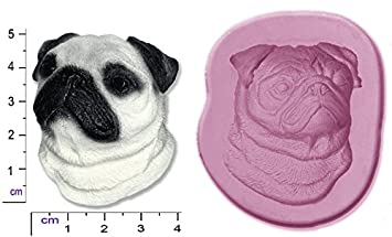 Molde de silicona para figuras de azúcar, diseño de perro carlino: Amazon.es: Hogar