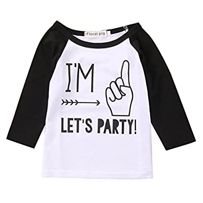 Toddler Boys Girls Birthday Party Outfit Kids Long Sleeve Funny T shirt Top 1-4 years