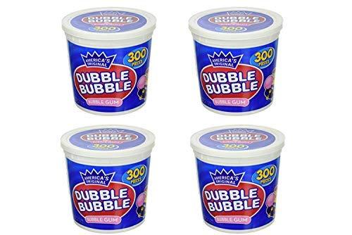 America's Original Dubble Bubble Bubble Gum 47.6 Ounce Value Tub 300 Individually Wrapped Pieces (4 Pack)