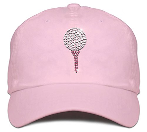Ladies Cap with Bling Rhinestone Design of Golf Ball and Tee (Soft Pink)