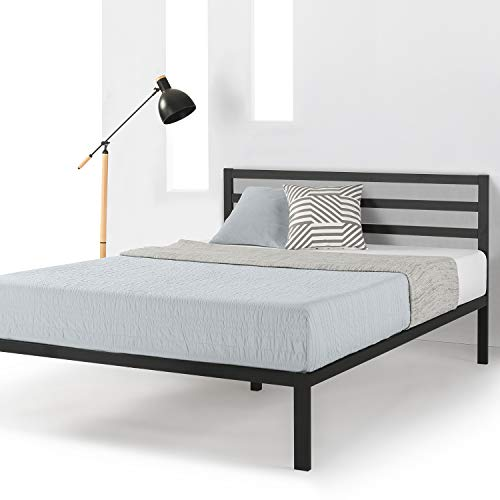 (Mellow Twin Frame 14 inch Heavy Duty Metal Platform Bed W/Headboard/Wooden Slat Support/Mattress Foundation(No Box Spring Needed), Black)
