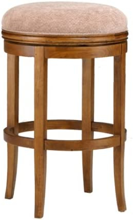 Hillsdale Oakview 24-Inch Backless Swivel Counter Stool, Oak Finish with Plush Beige Chenille Fabric