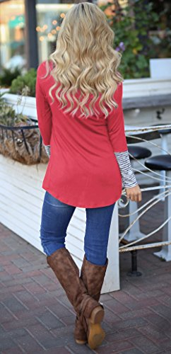 Printemps Hauts T Rose Chemisiers Shirt Longues Irrgulier Tee Blouse Mode Tops Manches et Raye Patchwork Jumpers Femmes Rouge Casual Automne rxSwqOAr