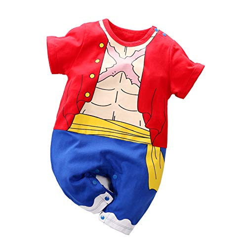 Yierying One Piece Luffy Baby Clothes Cotton Onesie Baby Rompers Red]()