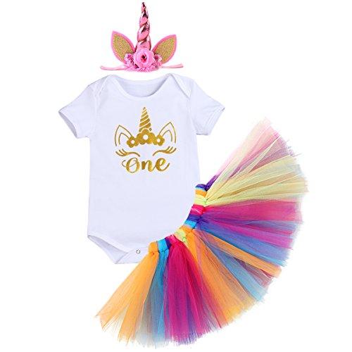 OBEEII Baby Girl Unicorn Romper Tutu Skirt Headband Outfits First Birthday Cake Smash 12-18M