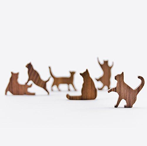 COMMA Wooden Cat Pile Set #5 (Purple Thread, 6 Kittens)