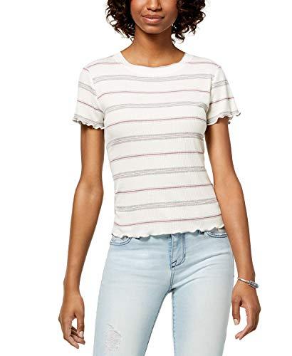 (Hippie Rose Juniors' Striped Lettuce-Edge T-Shirt (Ivory, L))