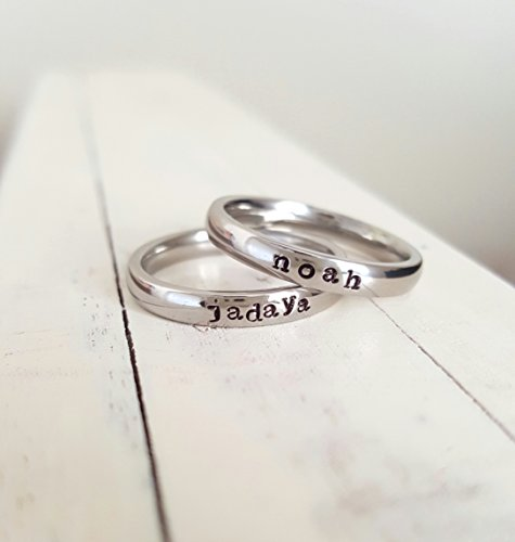 Stacking Name Ring 3mm Hand Stamped Hypoallergenic Stainless Steel -