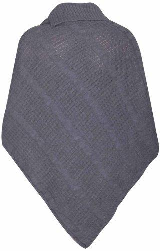 taglia lunga antisguardi Dark donna maglia Lavorato Poncho a roll Cape unica pottone pieghe colletto Grey EPqTOXFwx