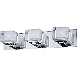 Maxim 10003CLPC Cubic 3-Light Bath Vanity, Polished Chrome Finish, Clear Glass, G9 Xenon Xenon Bulb, 100W Max, Wet Safety Rating, Standard Dimmable, Glass Shade Material, 1150 Rated Lumens