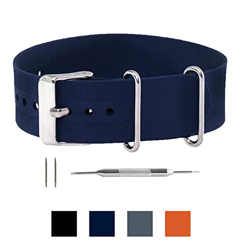 Benchmark Straps Silicone Rubber NATO Style Watchband + Spring Bar Tool - 18mm, 20mm & 22mm (More Colors Available) (20mm, Navy)