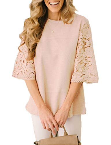 Women Summer Hollow Out 3/4 Lace Bell Sleeve Casual Tunic T Shirt Chiffon Tops Blouse Cracker Khaki, XXL