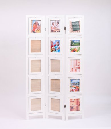 Amazon.com: 3 panel double sided White finish wood photo frame room ...