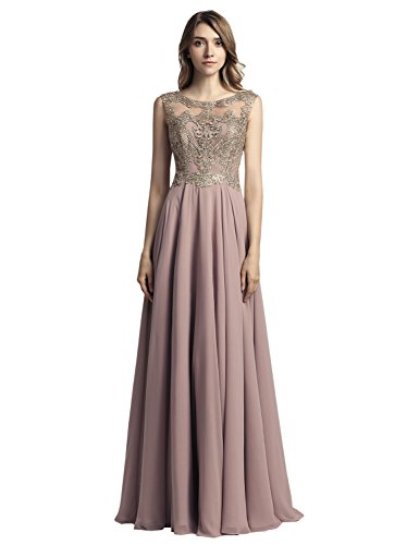 Sarahbridal Juniors Long Chiffon Pageants Party Dresses Gold Lace Applique Sequin Prom Gowns Mocha US2