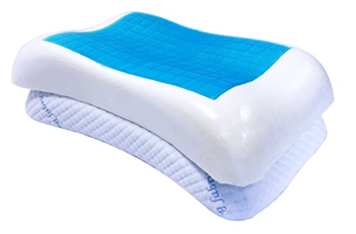 2 PACK Queen Size QQbed Blue Dual Cooling GEL Dense Memory Foam in Shoulder Shape Bed Pillows