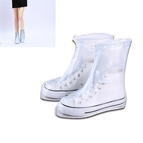 Wear Resistant (Reusable Women Men Waterproof Rain/Snow Shoes Cover Adjustable Zippered Over Shoes Slip-resistant Wear-resistant Thicken Sole Shoes Covers M)