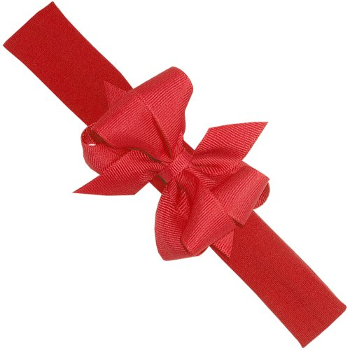 Wee Ones Baby Girls' Mini Grosgrain Double Hair Bow on Cotton/Lycra Band - Red (6-24 months)