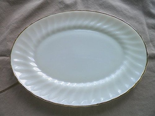 Anchor Hocking - Fire King - Swirl Golden Shell Milk Glass Platter - 13 in. (Milk Hocking Anchor)