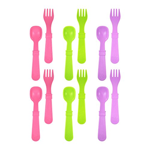 Re-Play Made in USA 12pk Toddler Feeding Utensils Spoon and Fork Set for Easy Baby, Toddler, Child Feeding - Bright Pink, Lime, Purple (Butterfly.) 6 Spoons/6 Forks