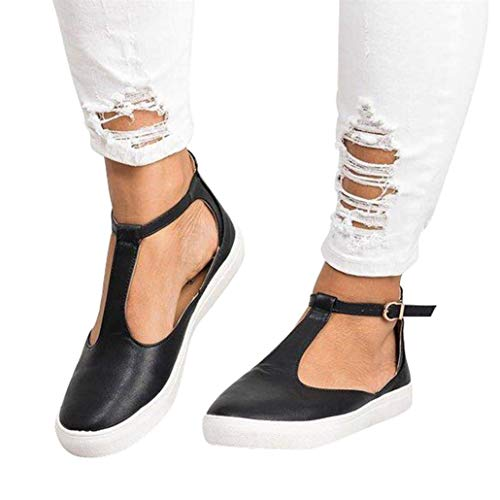 n Flats Loafers Cutout Casual Leather Shoes T-Strap Sneakers Comfortable Slip on Shoes Black ()