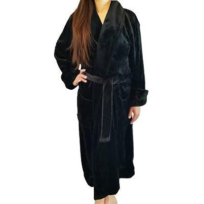 Women's Full Length Shawl Collar Velour Microfiber Fleece Bathrobe Spa Robe - Black