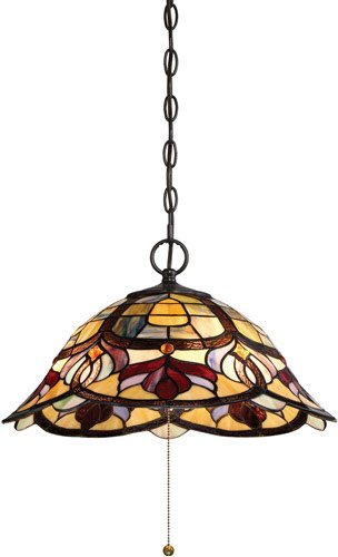 "Quoizel TFGD1820VB Garland Breakfast Nook Tiffany Pendant Lighting, 3-Light, 300 Watts, Vintage Bronze (10"" H x 20"" W)"