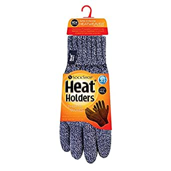 Heat Holders Women's Thick Warm Fleece Lined Cold Weather Winter Thermal Gloves, Navy, S/M