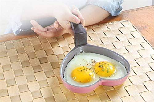 Yougou001 揚げ鍋、平鍋鍋、ハート型焦げ付き防止フライパン、アルミ合金、ピンク5.6インチ 洗練されたエレガント (Color : Pink)