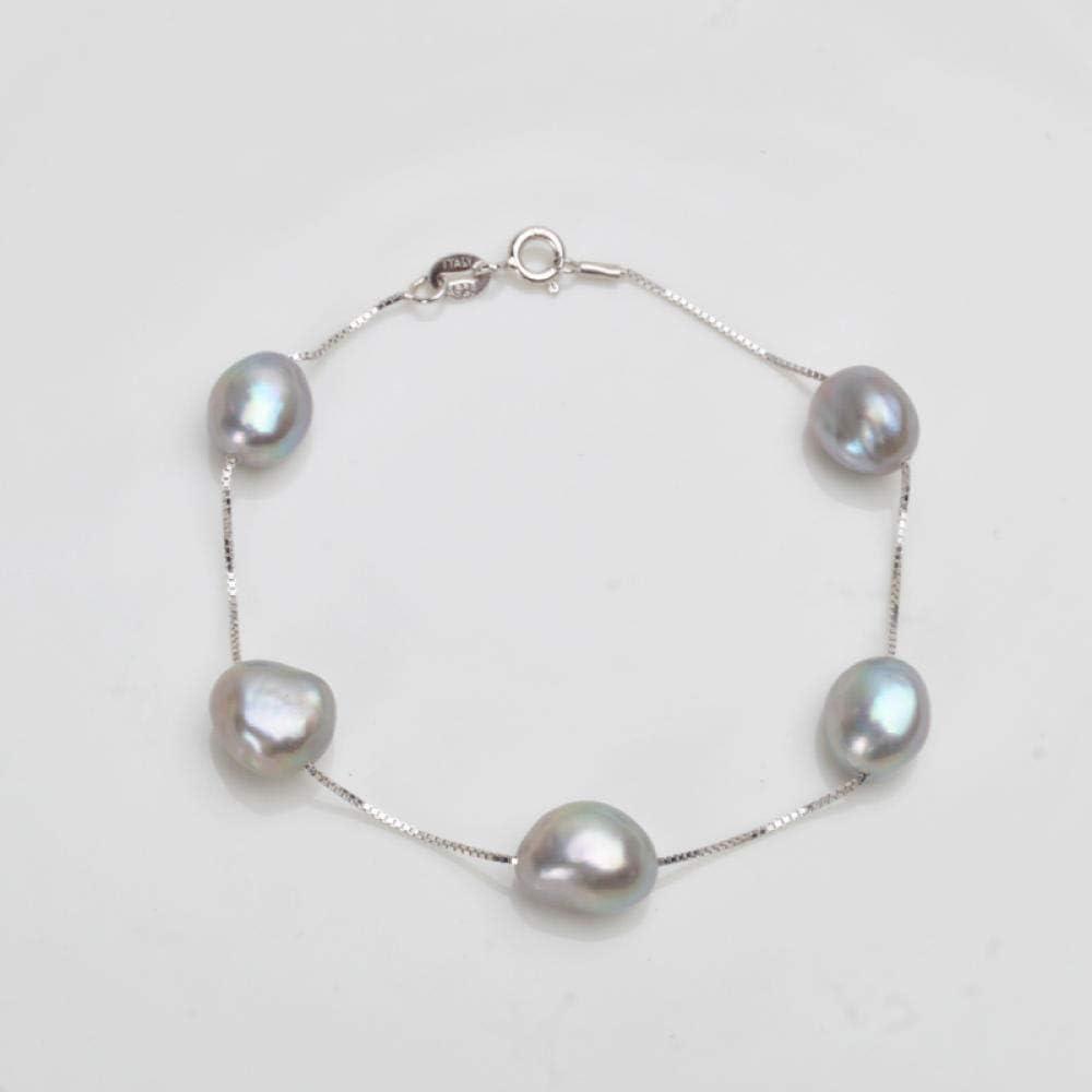Liuboo 925 Pulsera de Plata esterlina 8-9 mm Blanco Gris Natural joyería de Perlas de Agua Dulce Pulsera de Temperamento Femenino Mejor Regalo-Gris_18 cm