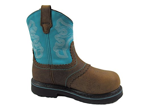 - Wolverine Hytest Women's Western Wellington Steel Toe, Electric Hazard, Non-Slip Safety Boot (6.5 C/D US, Brown/Blue)