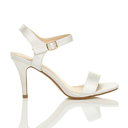 High There Size Women Heel Shoes Ivory Ajvani Sandals Satin Barely xI6RB5qw