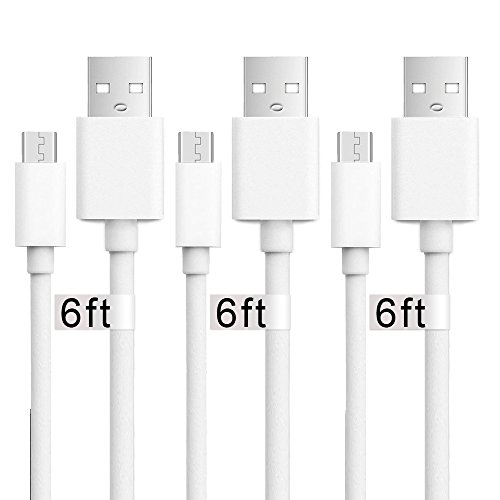 Usb to Micro Usb Cable, 3Pack 6 FT Long Fast Charge USB 2.0 A Male to Micro B Sync Charger Cord for Android, Samsung, LG, HTC, Motorola, Nokia, MP3, Camera - White