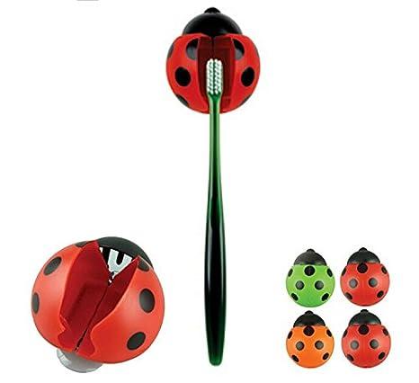 Edealing (TM) 6pcs Cute bolsillo baño cepillo de dientes Cosas Ladybug Pared succión soporte: Amazon.es: Deportes y aire libre