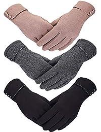 3 Pairs Women Winter Gloves Warm Touchscreen Gloves Windproof Gloves for Women Girls Winter Using