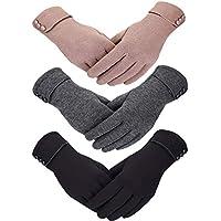Patelai 3 Pairs Women Winter Gloves Warm Touchscreen Gloves Windproof Plush Gloves for Women Girls Winter Using
